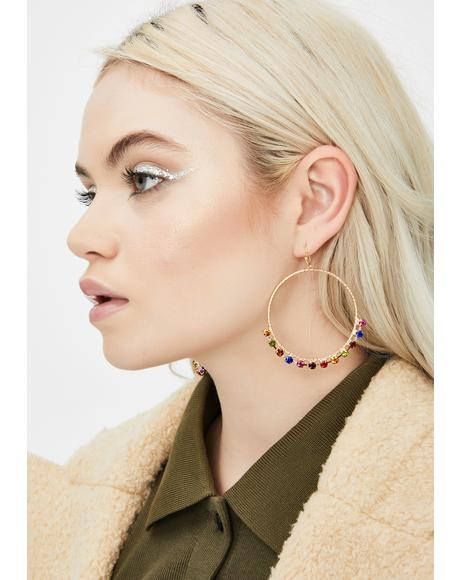 Funky Icy Affair Rhinestone Hoops