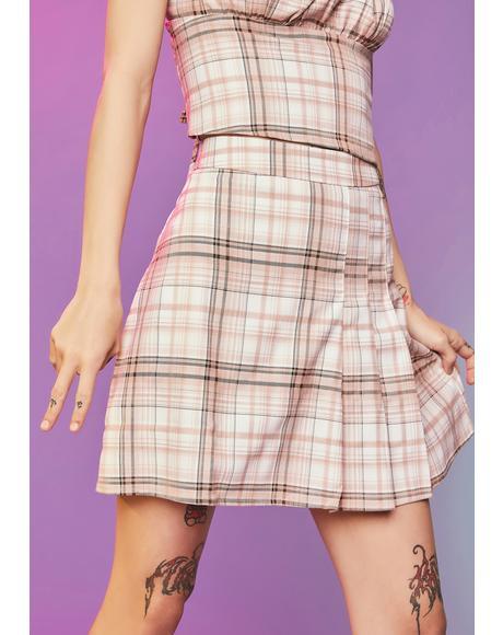 Freak Show Plaid Pleated Mini Skirt