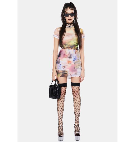 Jaded London Scenic Print Mesh Mini Dress