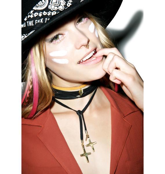 Vanessa Mooney The Crosses Black Leather Wrap Bolo