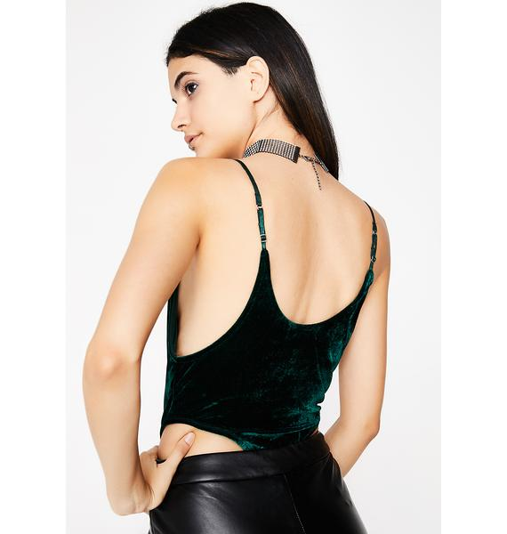 Emerald Change Of Heart Velvet Bodysuit