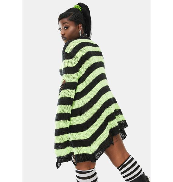 Dolls Kill My Favorite Haunt Striped Sweater