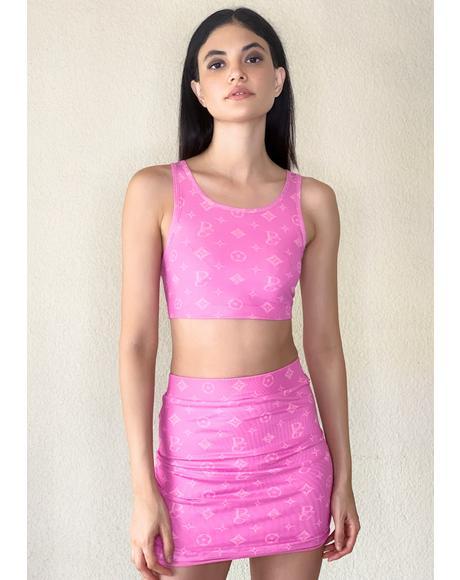 Designer Drip Monogram Skirt Set