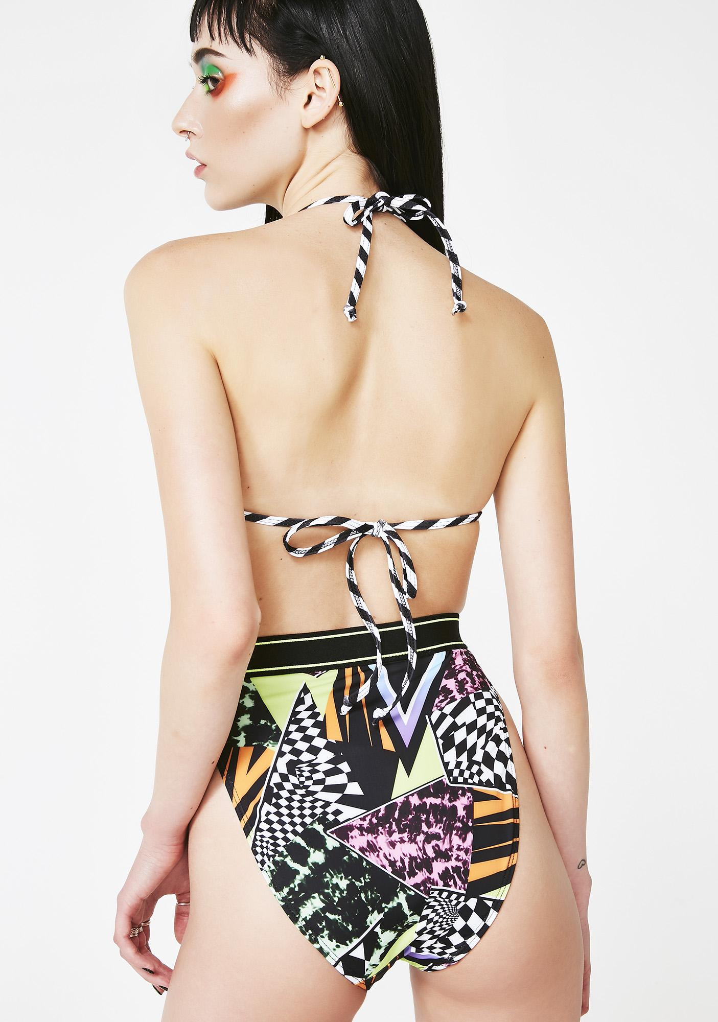 Jaded London Skater Print Triangle Bikini Top