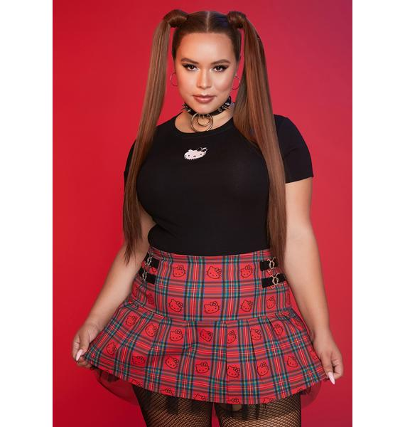 Dolls Kill x Hello Kitty We're Good For Each Other Plaid Mini Skirt