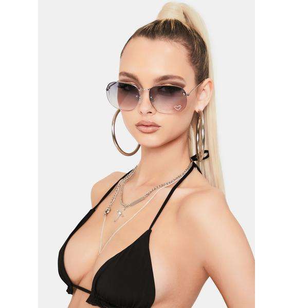 Good Times Eyewear Queen Of Hearts Black Ombre Round Sunglasses