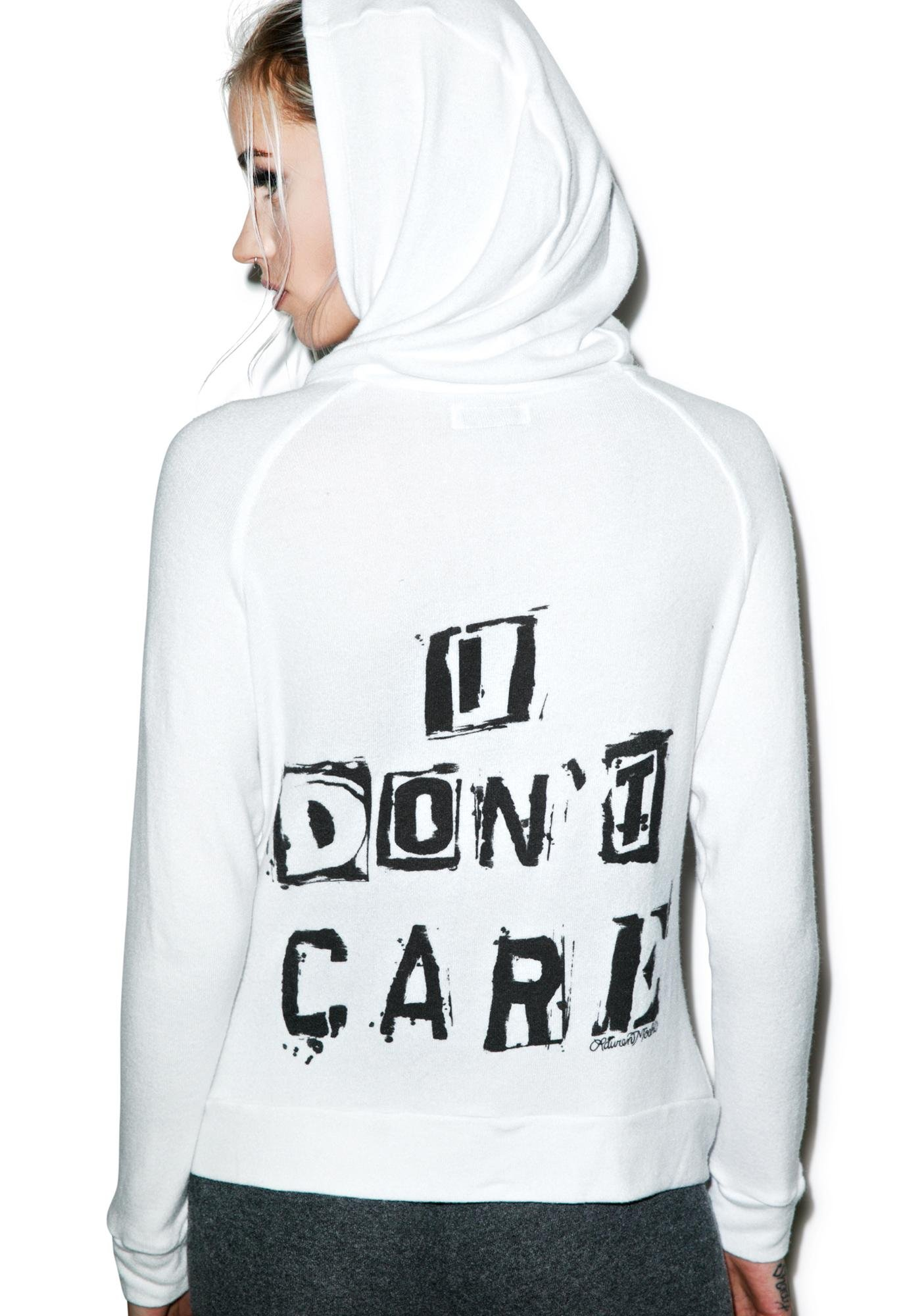 Lauren Moshi I Don't Care Zip Up Hoodie
