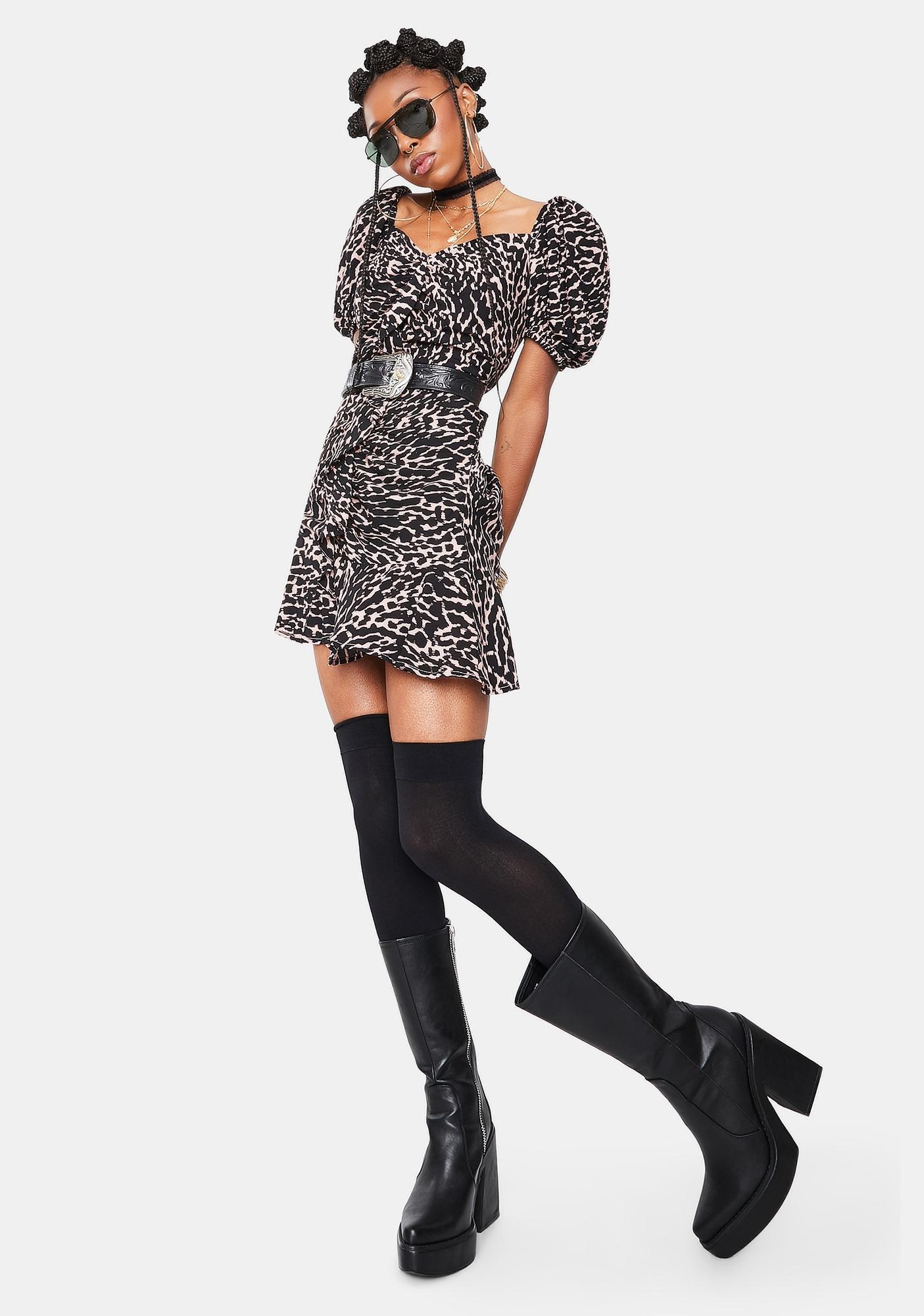 Re Named Mica Leopard Puff Sleeve Mini Dress