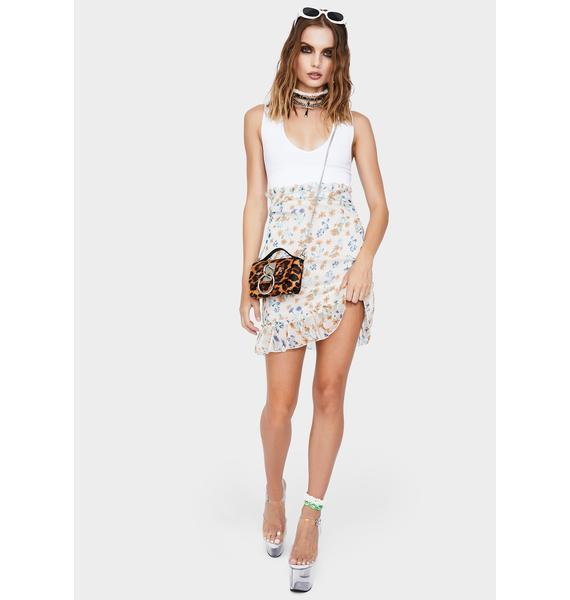Momokrom Ivory Floral Ruffle Mini Skirt