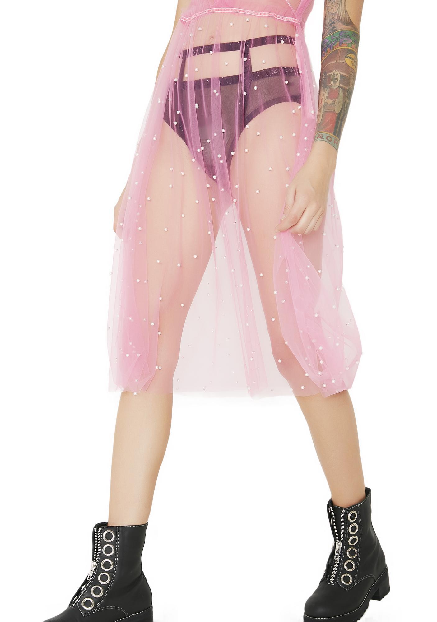 Tiny Bubbles Sheer Pearl Slip Dress