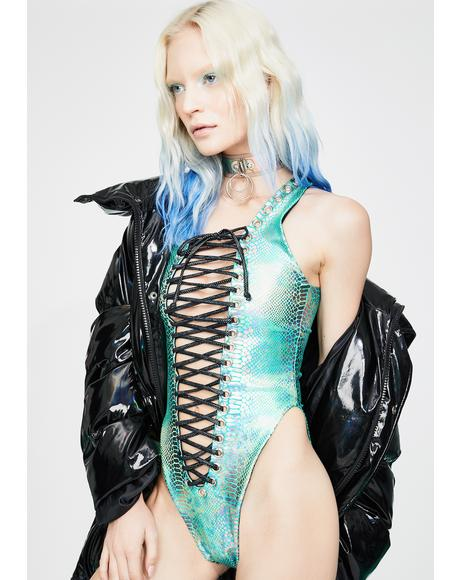 Teal Snake Metallic Lace-Up Bodysuit