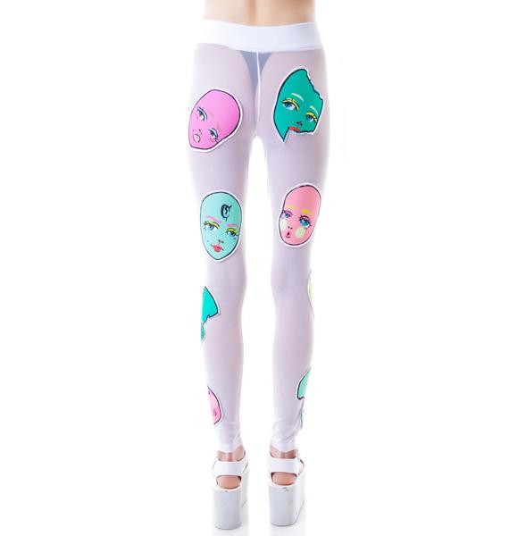 Coveted Society Doll Face Patched Mesh Leggings