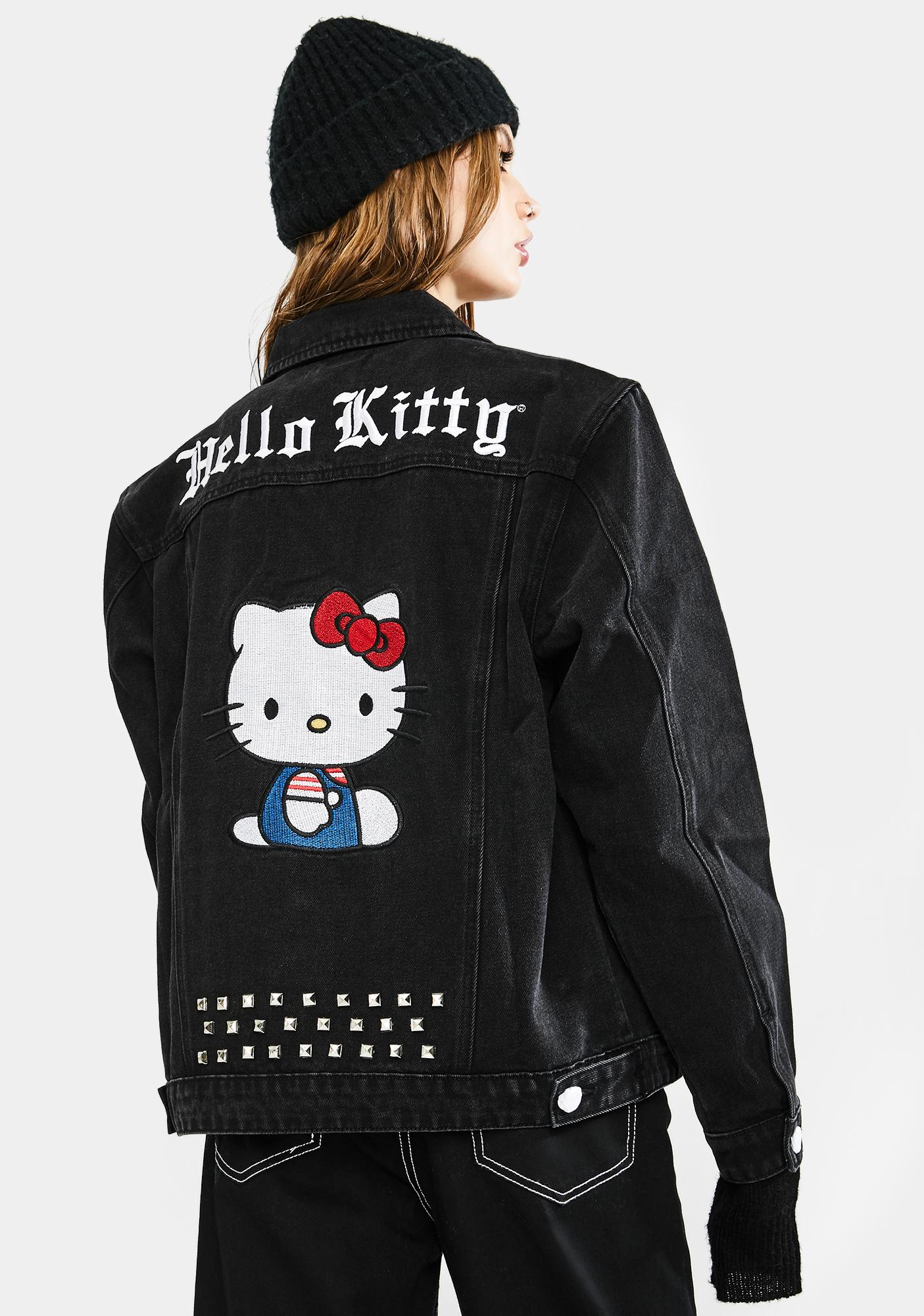Dolls Kill x Hello Kitty Make My Own Way Denim Trucker Jacket