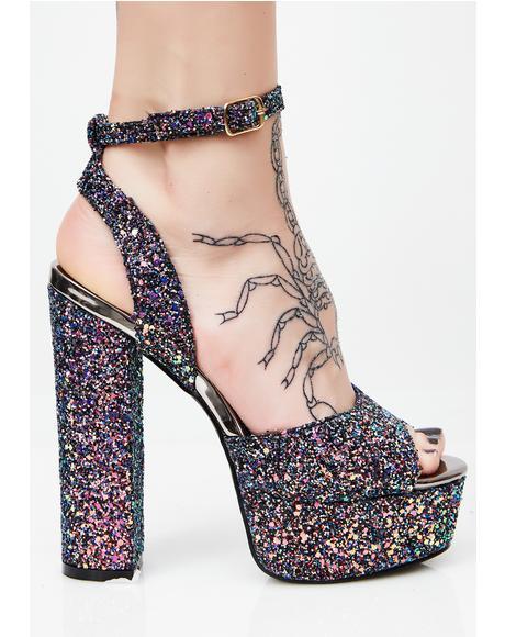 Nebula Glitter Platform Heels