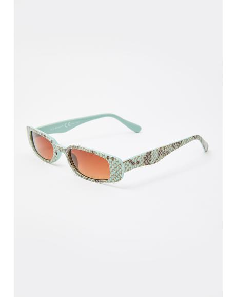 Mint Toxic Vibes Snakeskin Sunglasses
