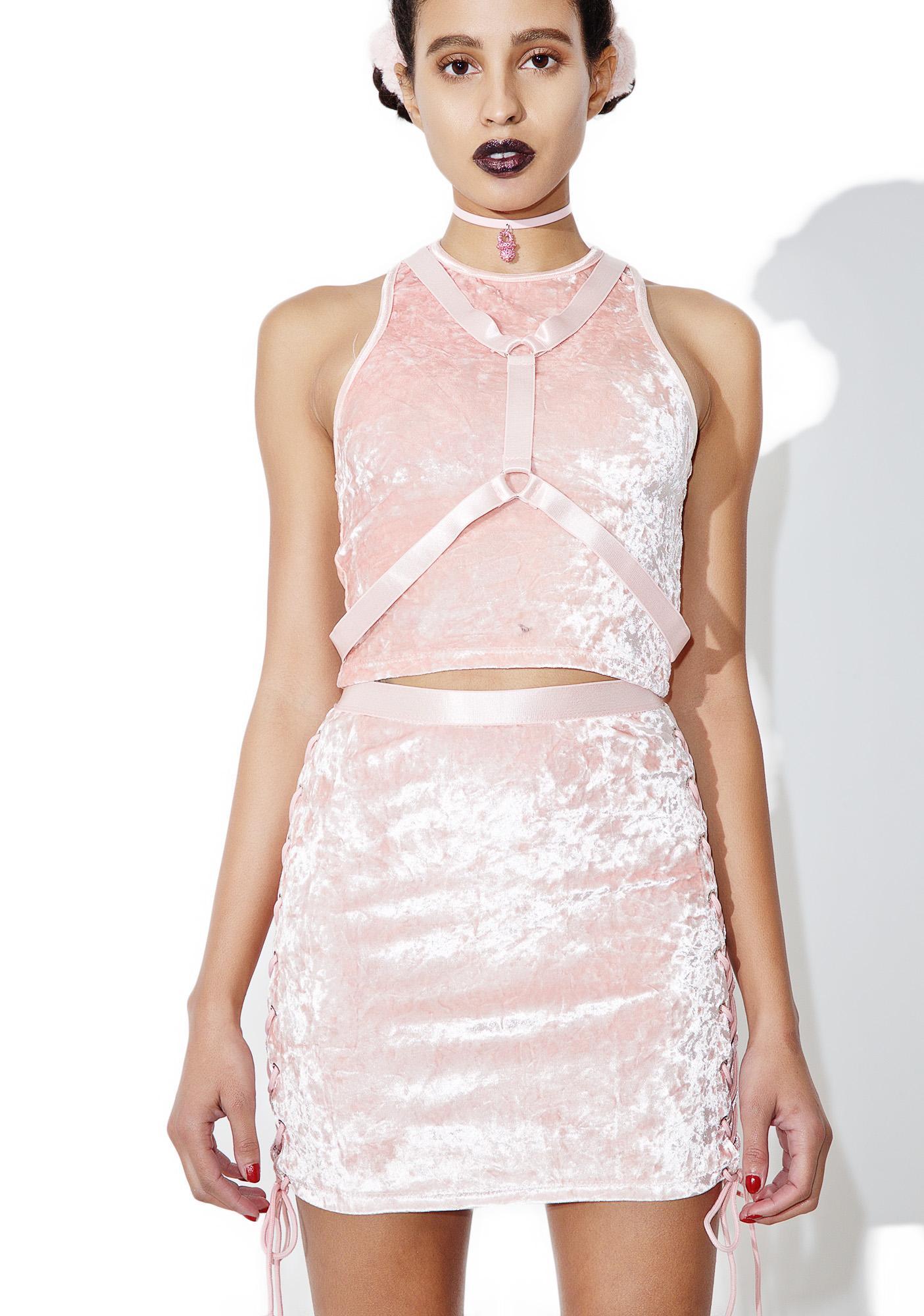 Current Mood Princess Velvet Crushin' Lace-Up Skirt