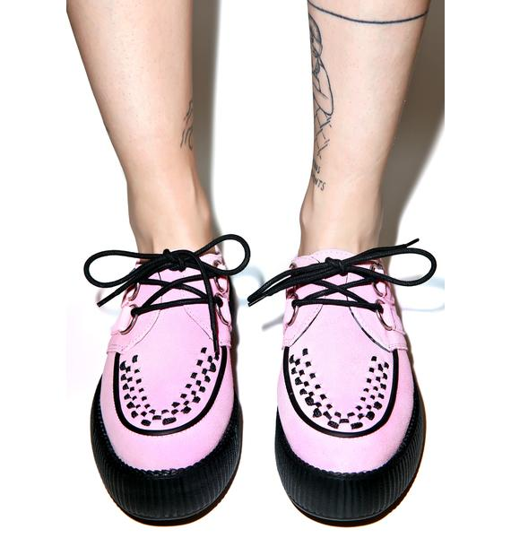 T.U.K. Baby Pink Suede Mondo Creepers