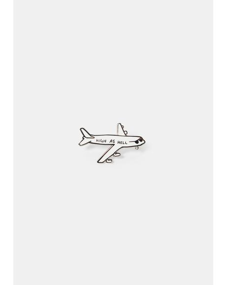 High As Hell Airplane Enamel Pin