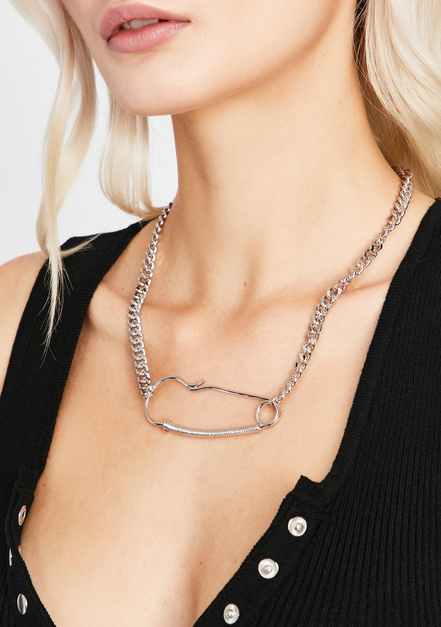 Fine Point Safety Pin Necklace