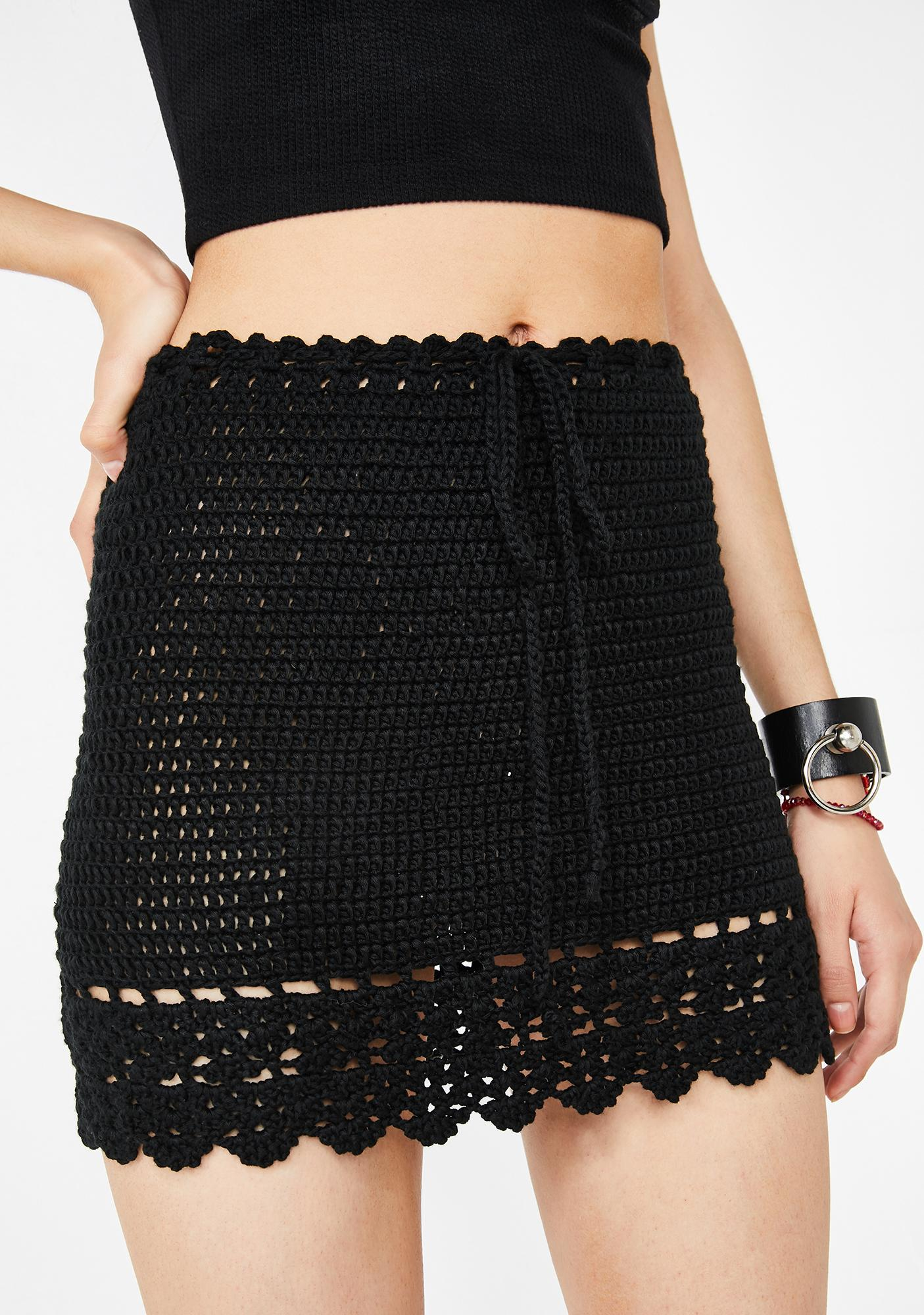 Lost On You Crochet Mini Skirt
