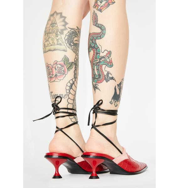 No Dress Pink Horsehair Leather Heels