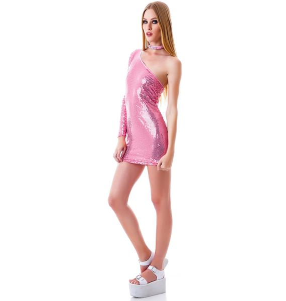 Glitterati Asymmetric Sequin Dress