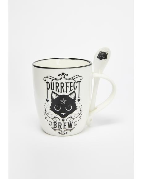 Purrfect Brew Mug And Spoon Set