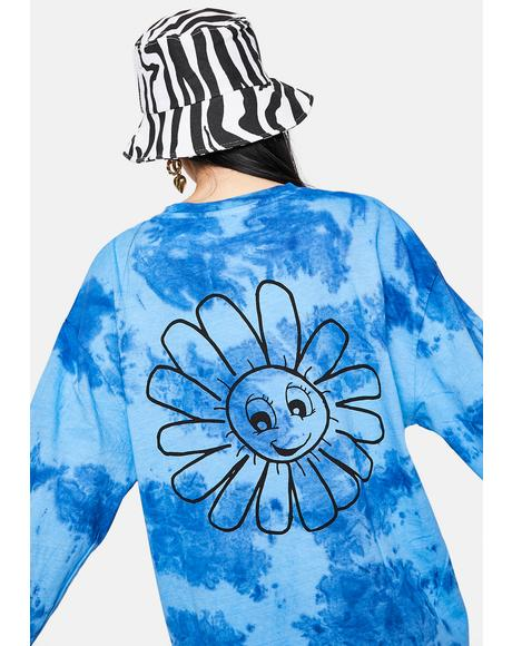 Tie Dye Smiley Flower Long Sleeve Graphic Tee