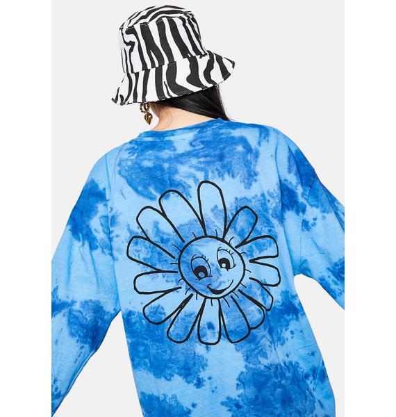 BDG Tie Dye Smiley Flower Long Sleeve Graphic Tee