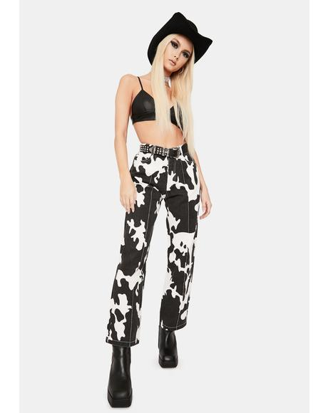 Rowdy Nights Cow Wide Leg Pants
