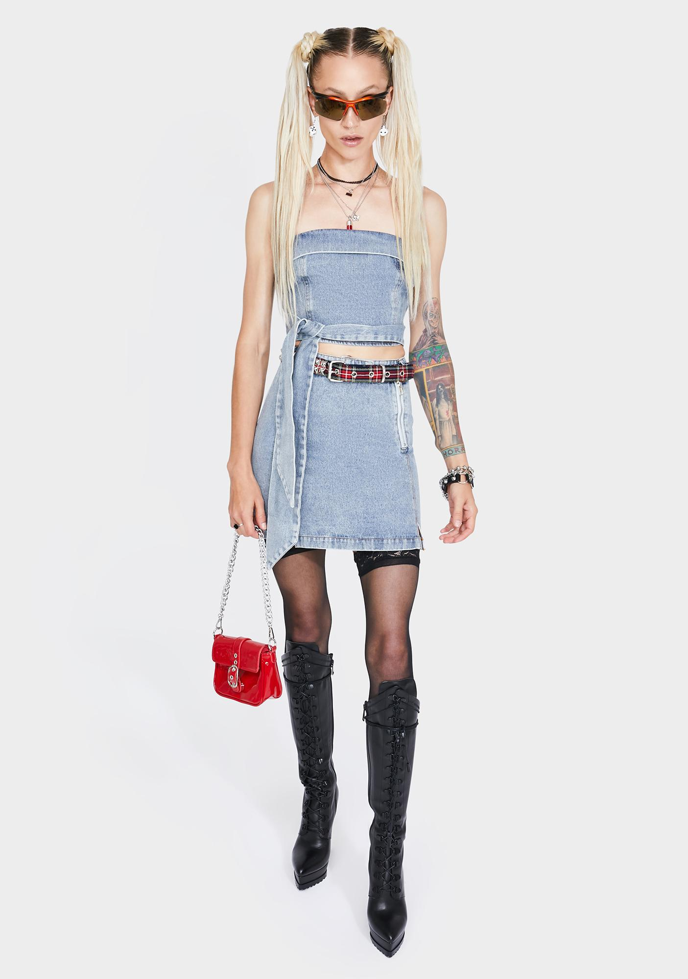 4SI3NNA Royce Denim Mini Skirt