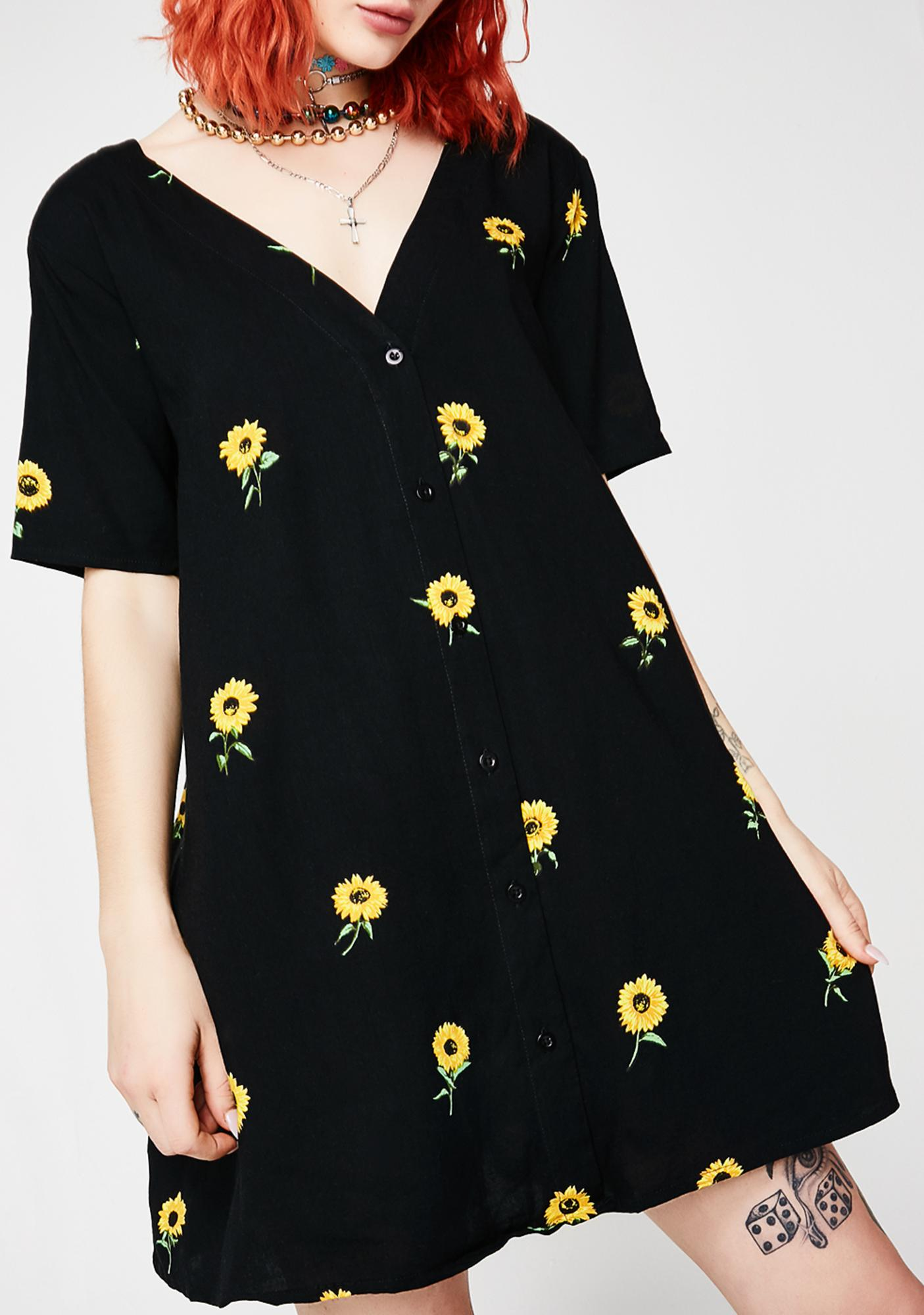 Motel Ditsy Sunflower Crosena Babydoll Dress