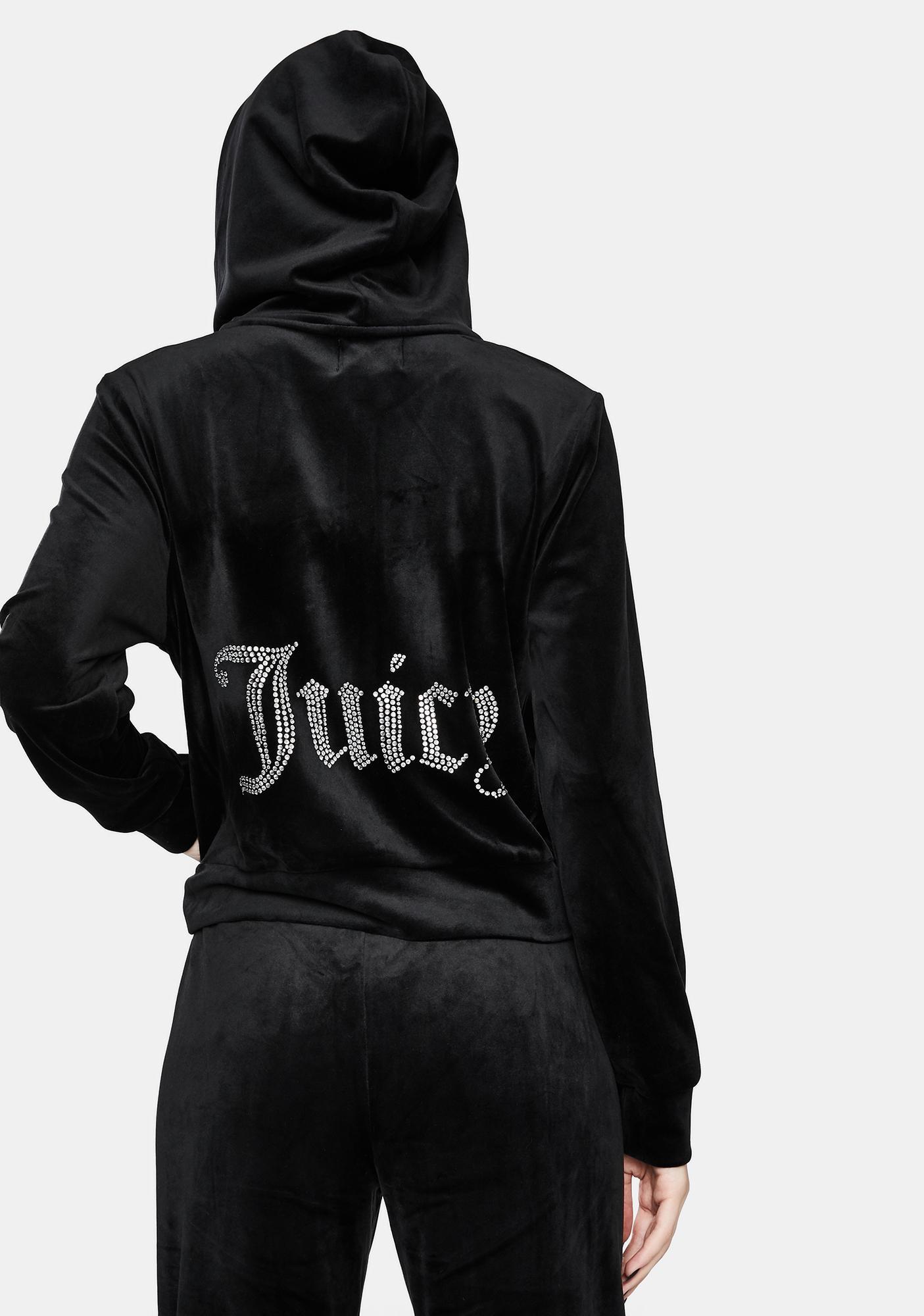 JUICY COUTURE Black Juicy Logo Zip Up Hoodie