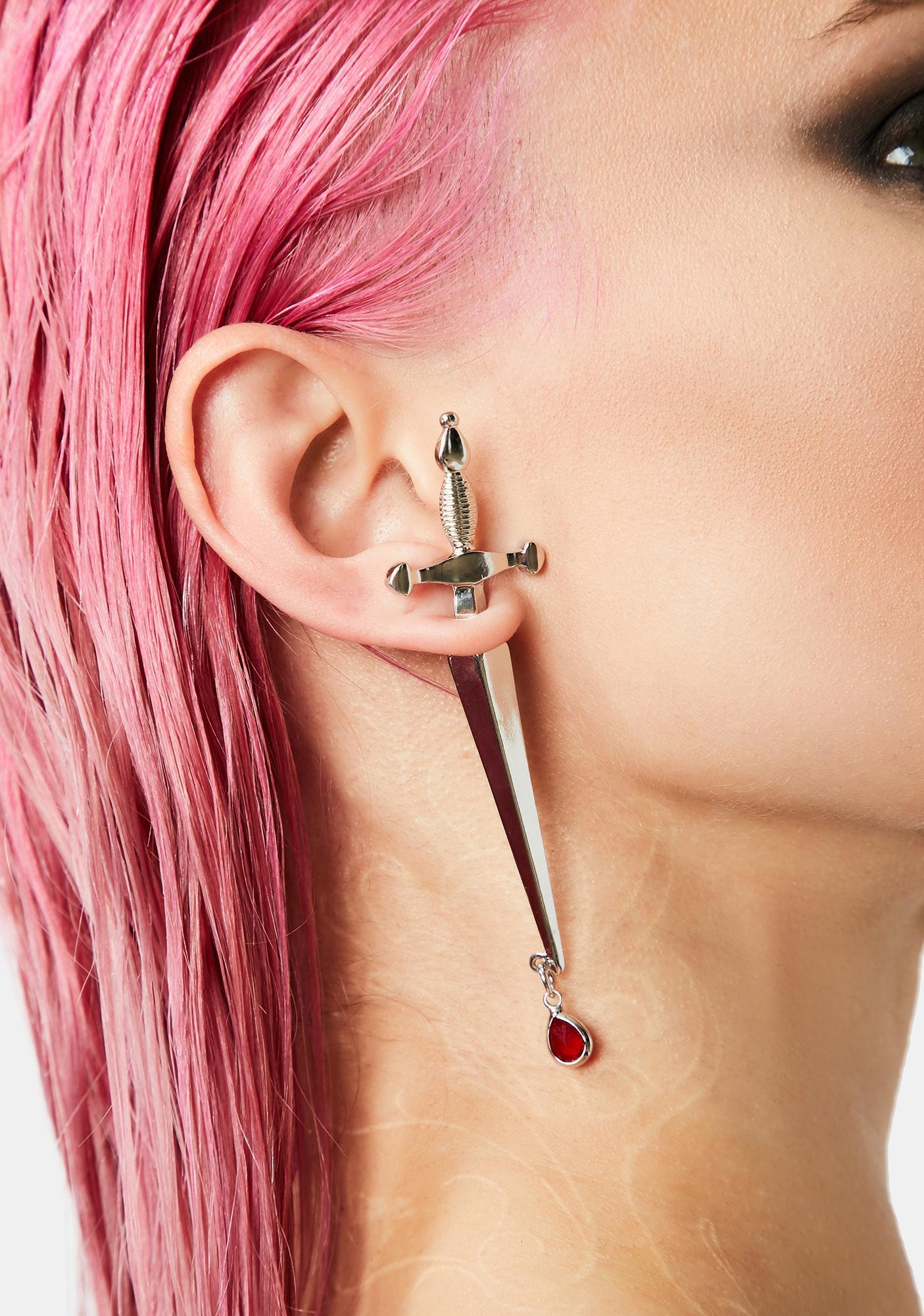 Chrome Magical Dagger Drop Earring