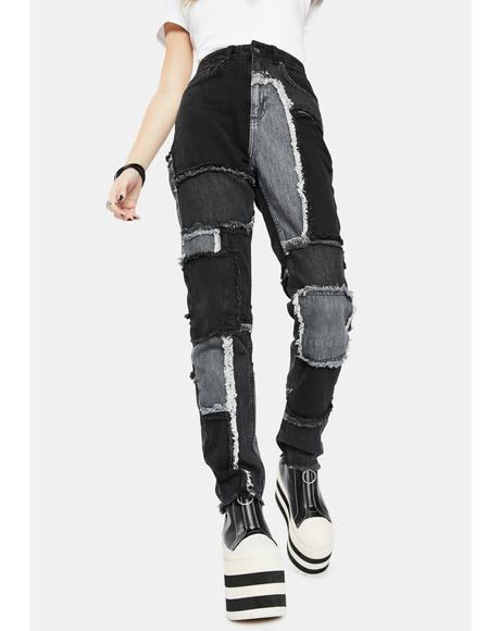 Black Cheat Patchwork Mom Jeans