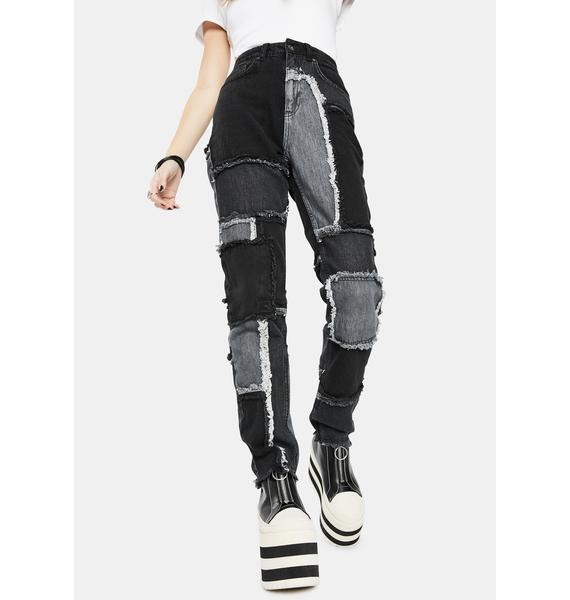 The Ragged Priest Black Cheat Patchwork Mom Jeans