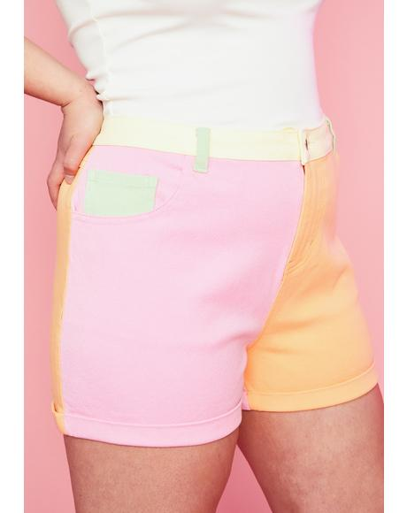 Sweet Candy Crush On U Colorblock Shorts