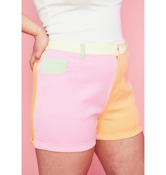 Sugar Thrillz Candy Sweet Crush On U Colorblock Shorts
