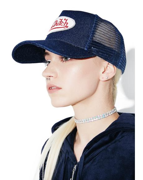 Denim Logo Trucker Hat