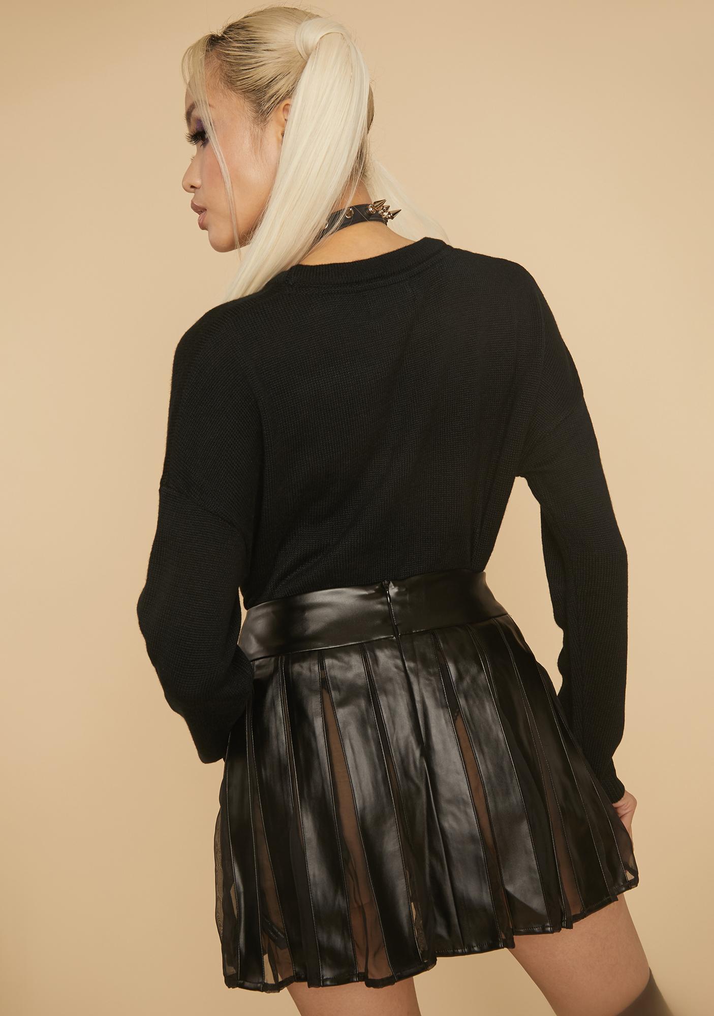 HOROSCOPEZ Idealistic Grunge Pleated Mini Skirt
