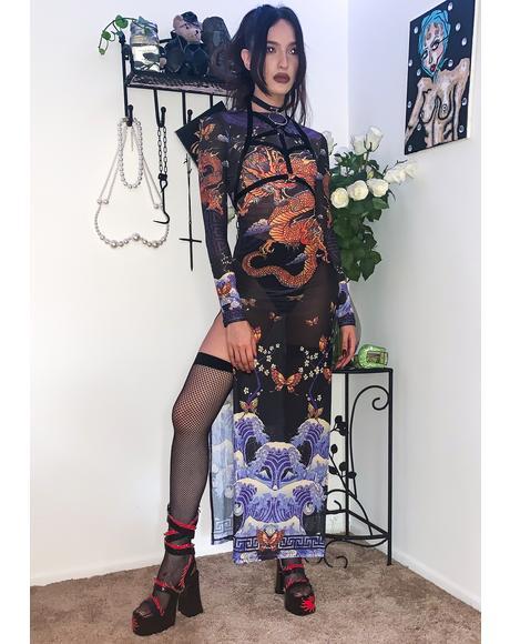 Fire & Fury Mesh Maxi Dress