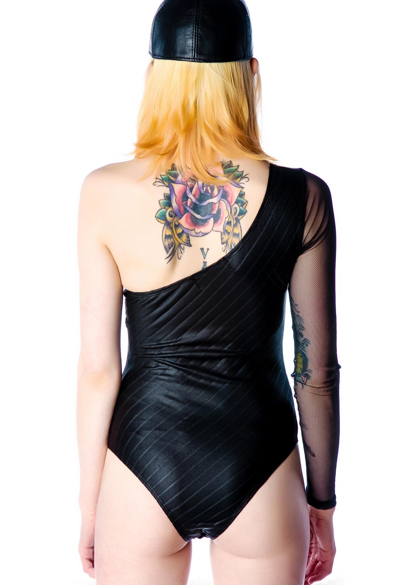 Lip Service Asymmetrical Matte Foil Spandex Bodysuit