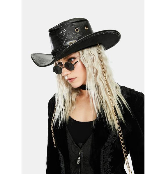 Punk Rave PU Carved Cowboy Hat