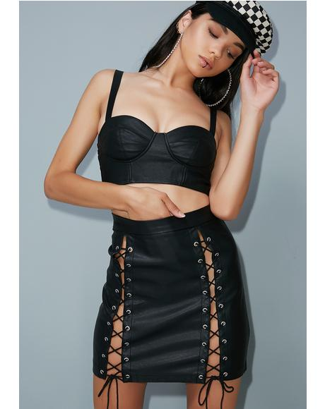 Run The World Lace-Up Mini Skirt