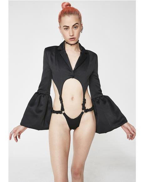 Black Satin GoGo Bodysuit