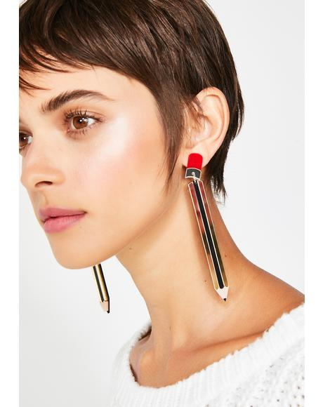 Side Note Pencil Earrings