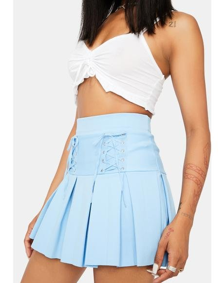 Aqua Modern School Girl Pleated Skort