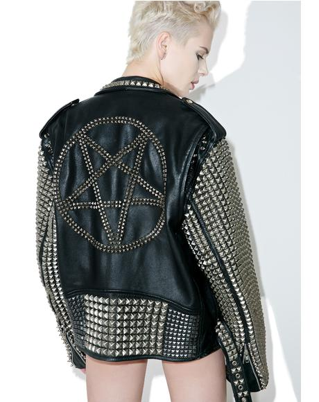 Vintage Deadstock Pentagram Leather Jacket