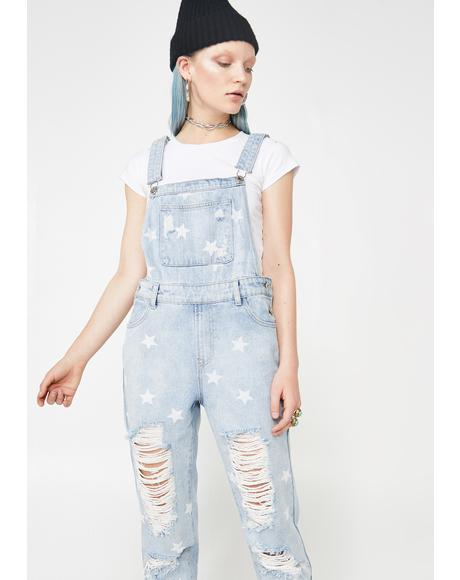 Star Status Denim Overalls