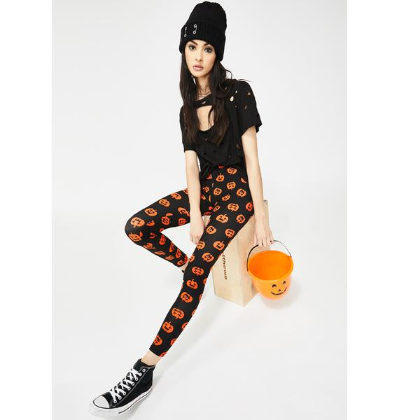 Tricks No Treats Pumpkin Leggings